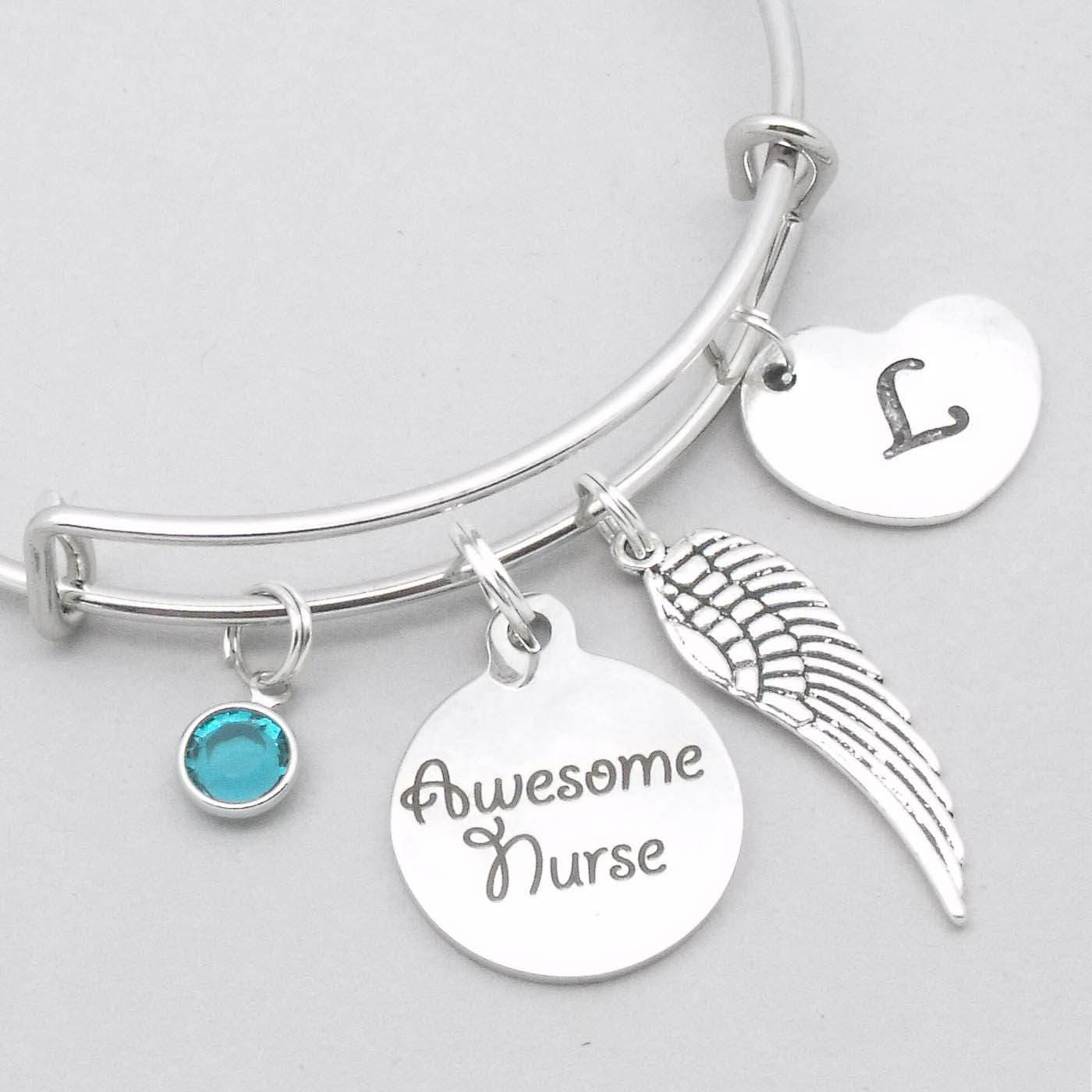Awesome nurse angel  heart initial charm bracelet  nurse bracelet  angel nurse  personalised nurse bracelet  nurse jewelry  nurse gift