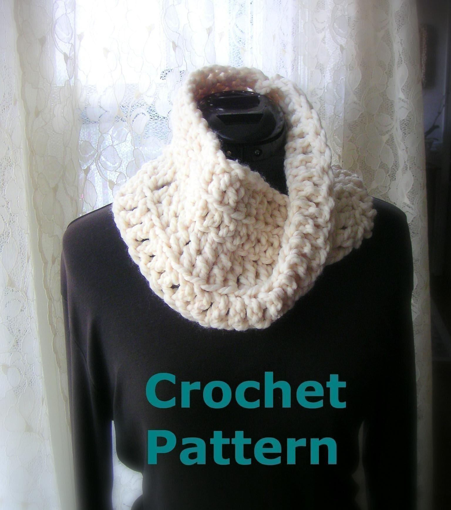 Crochet Infinity Scarf Tutorial For Beginners : Easy Crochet Pattern pdf Infinity Scarf by ...