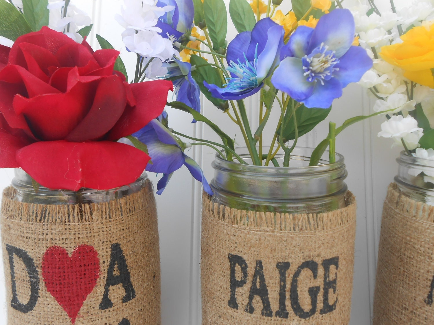 Bride and Bridesmaids wedding bouquet holder, burlap mason jar name flower holders, personalized