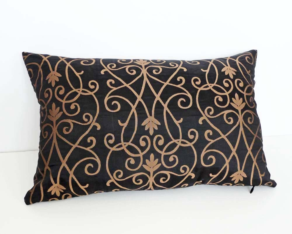Scroll Pillow Decorative Throw Pillow Black by PillowThrowDecor