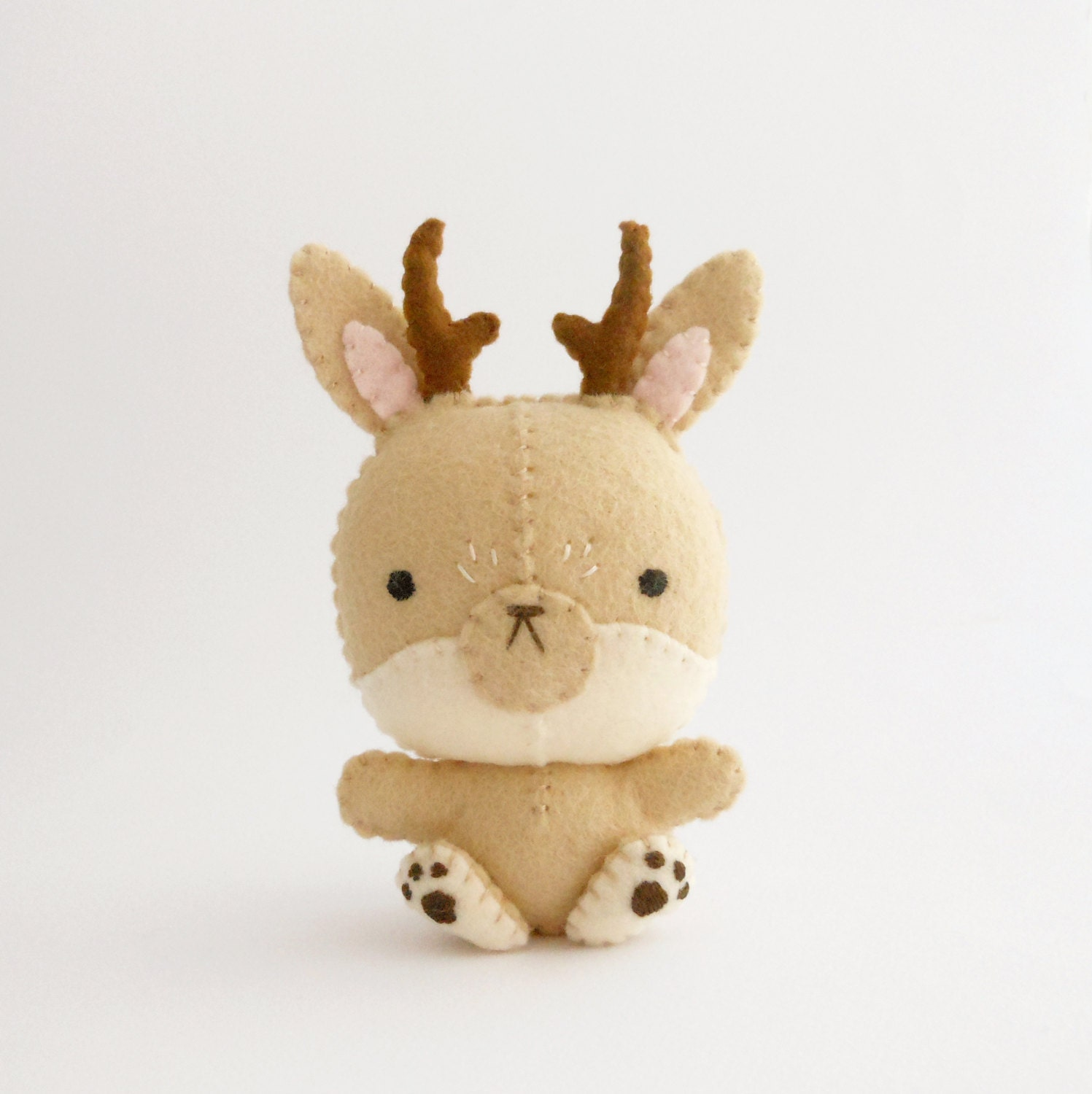 Tan Jackalope soft sculpture with cute horns and perfect totem animal - trepuntozerocivette