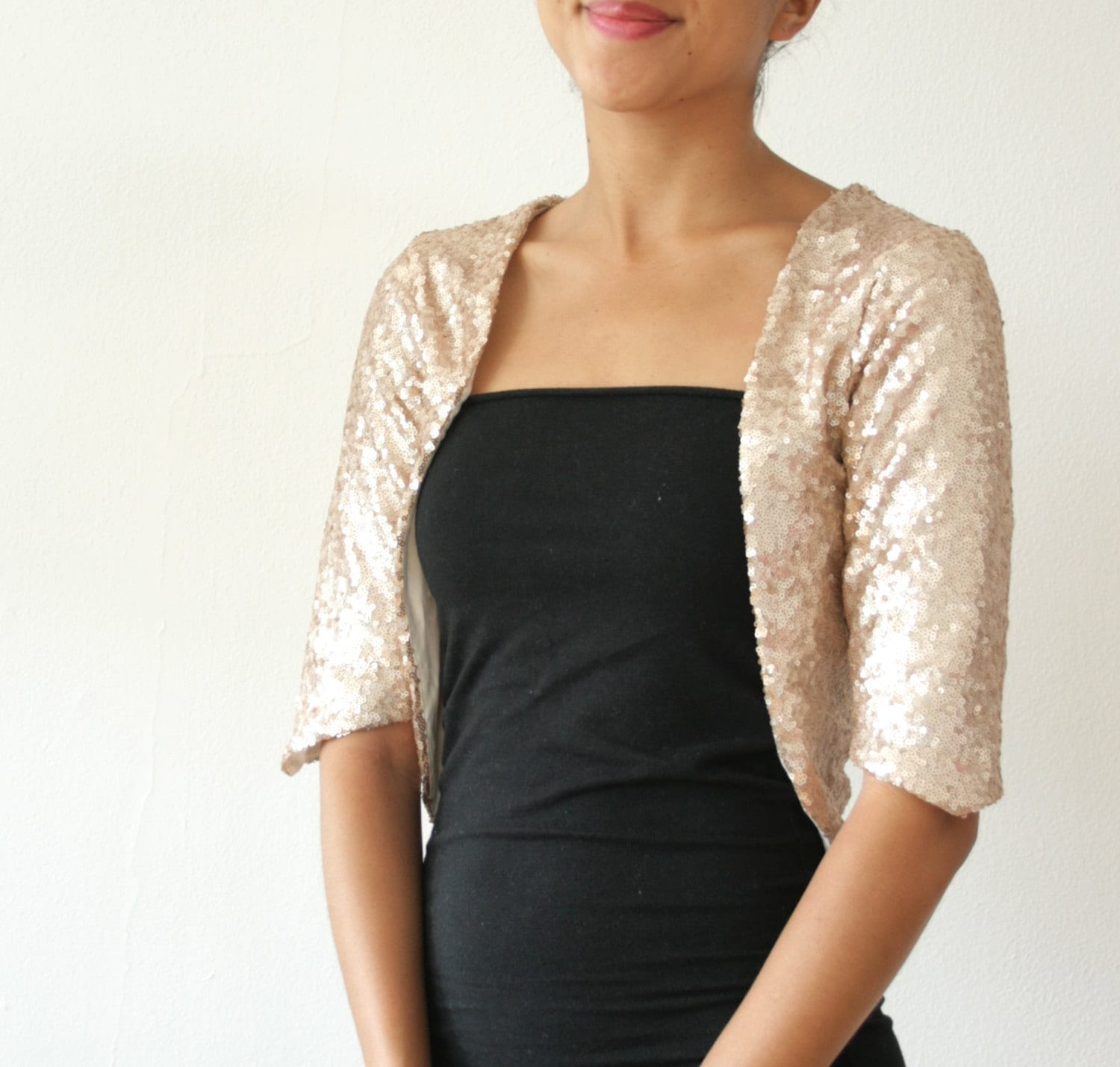 Gold Champagne Sequin Bolero Shrug Formal Wedding or Bridal Party, Holiday - Classic and Simple - EcoFriendly - SALLY - Kulayan