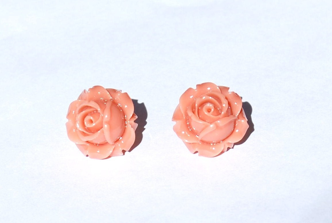 Orange Resin Flower Post Earrings