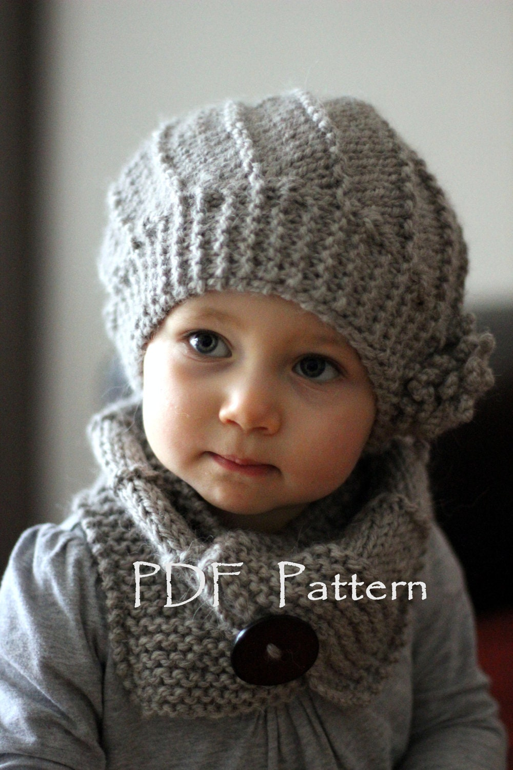 Knitted Cowl Pattern For Toddler : PDF Knitting Pattern Hat and Cowl Set Cool Wool by KatyTricot