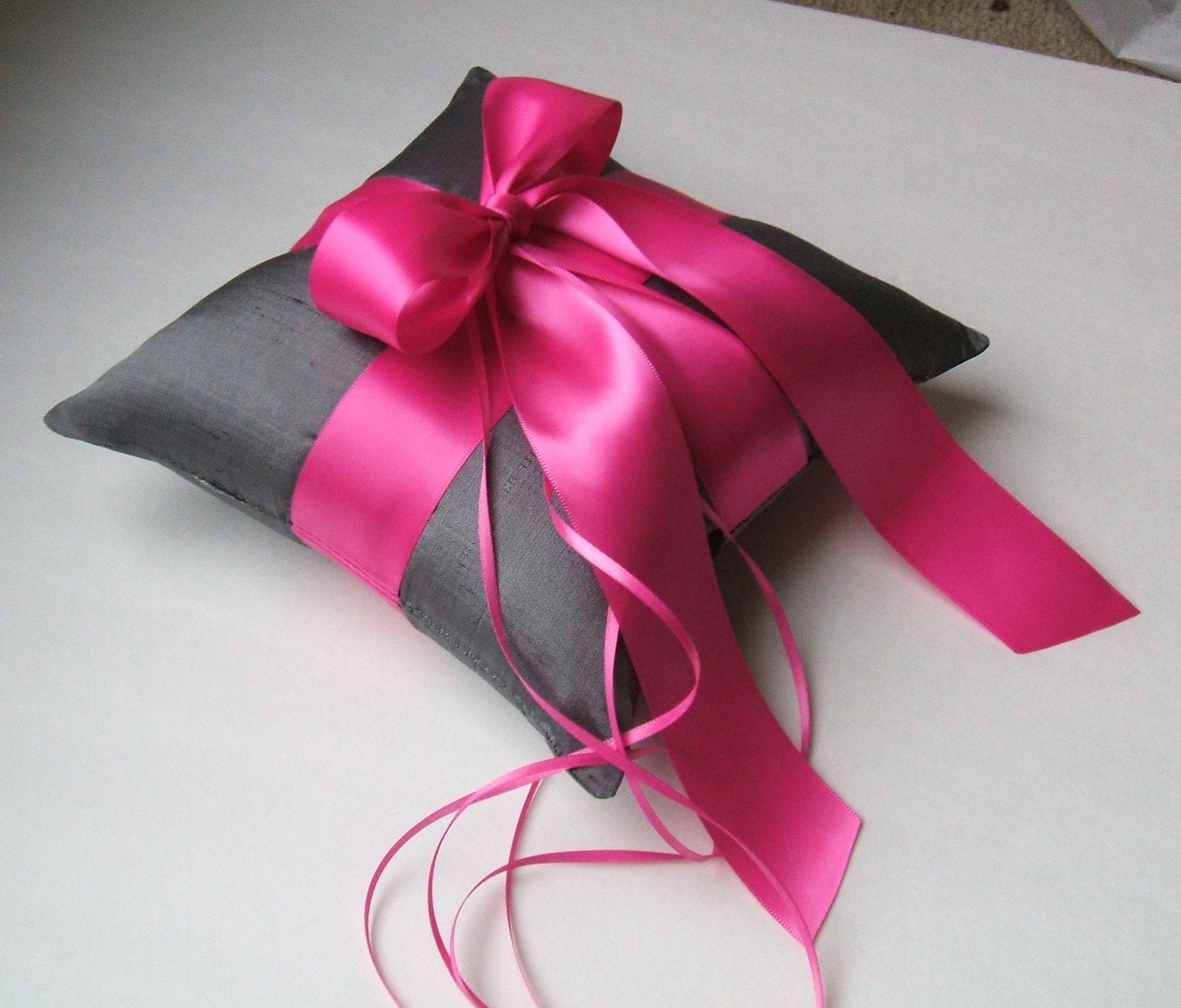 Romantic Dupioni Silk Ring Bearer Pillow...You Choose the Colors...Buy One Get One Half Off...shown in deep grey pewter/fuschia hot pink - RomancingJuliet