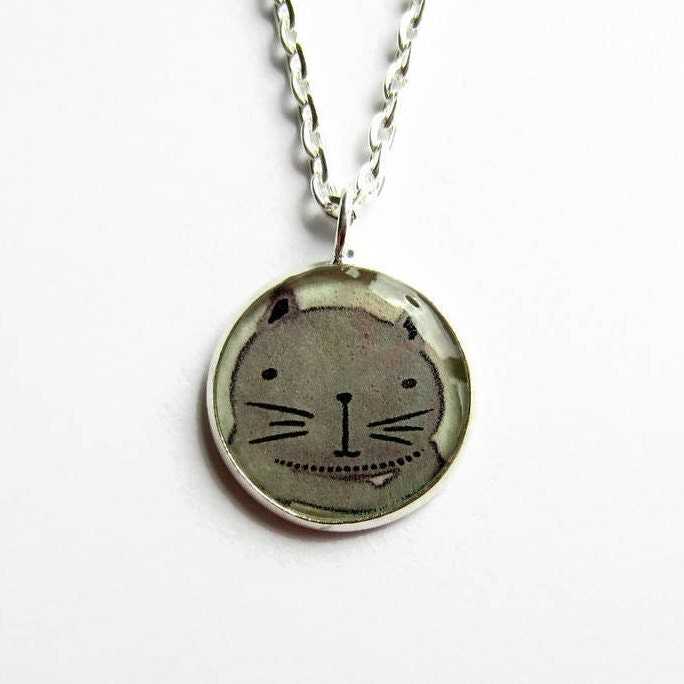 Cat Necklace Cute Cat Picture Necklace Cat Pendant Animal Jewelry Jewellery Gift for Her Resin Jewelry Small Pendant UK Seller