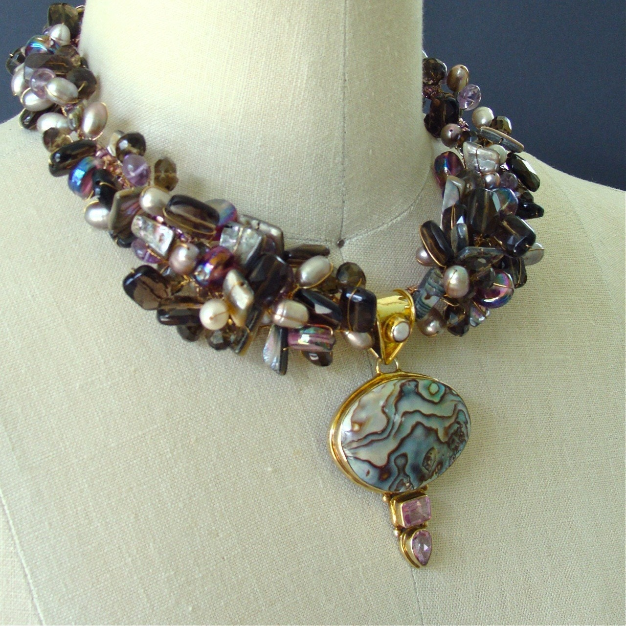 ON SALE Abalone and Amethyst Necklace