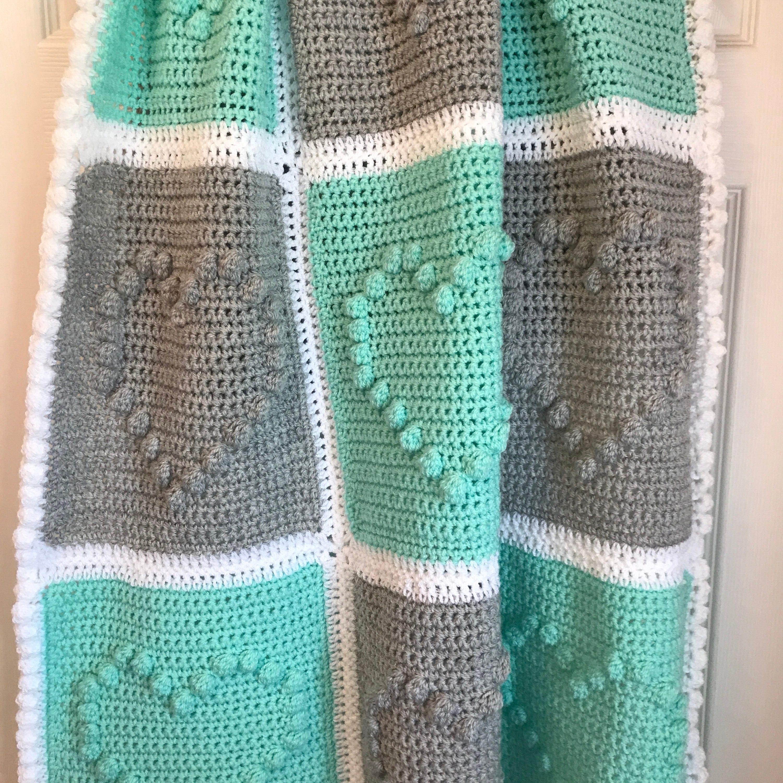 Handmade crochet heart bobble blanket