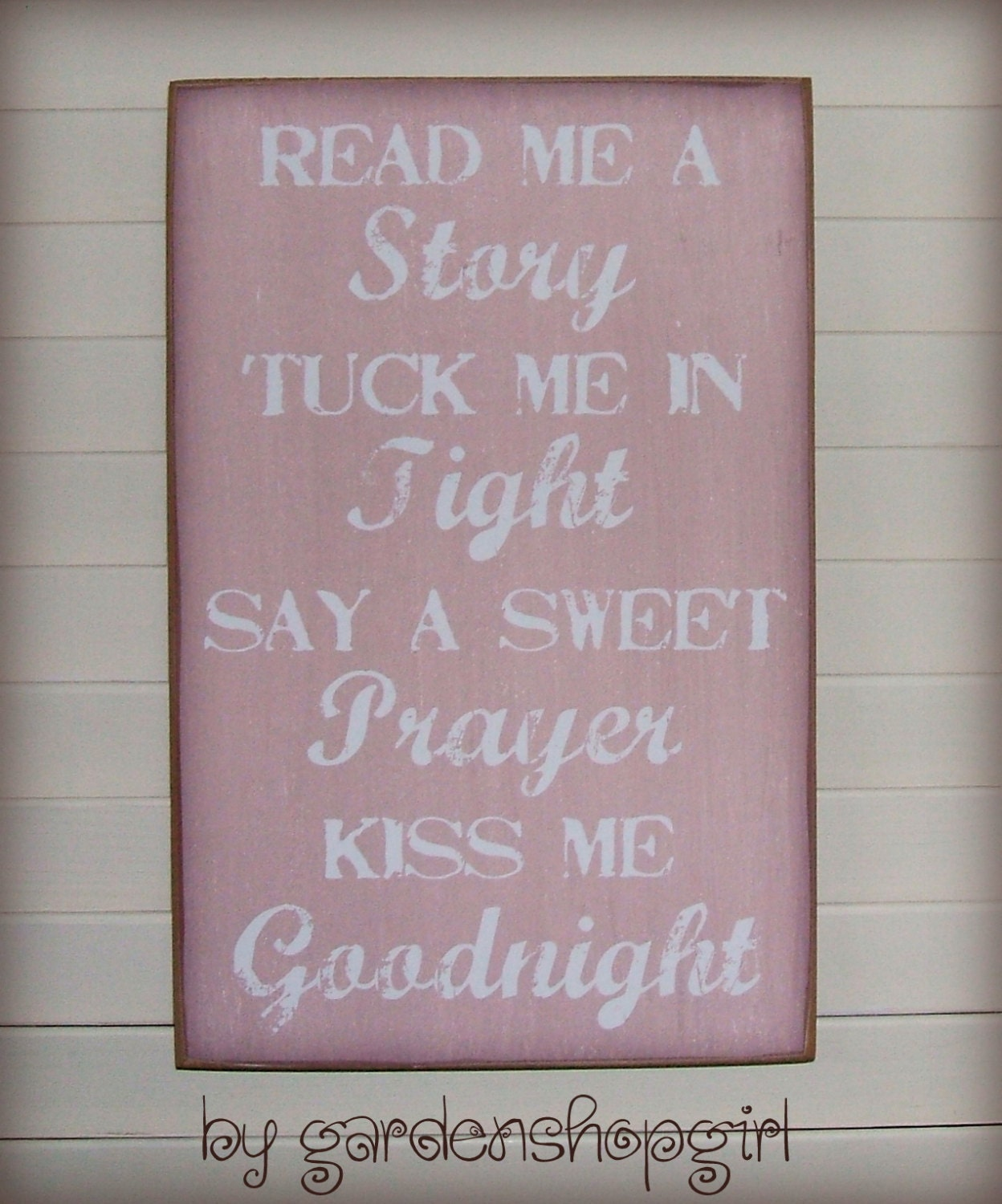Bedtime wood sign rose pink baby girl nursery by for Signs for little girl rooms