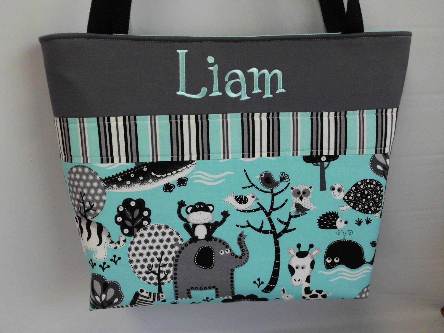 NEW ....Teal JUNGLE  w/ Stripes  Personalized  Diaper Bag .... Free Monogram .... Available in PINK - TweedleTotes