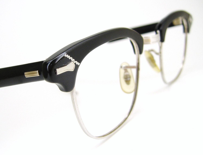 Vintage Shuron Eyeglass Frames : Vintage Mens 50s Shuron Horn rim Eyeglasses by ...
