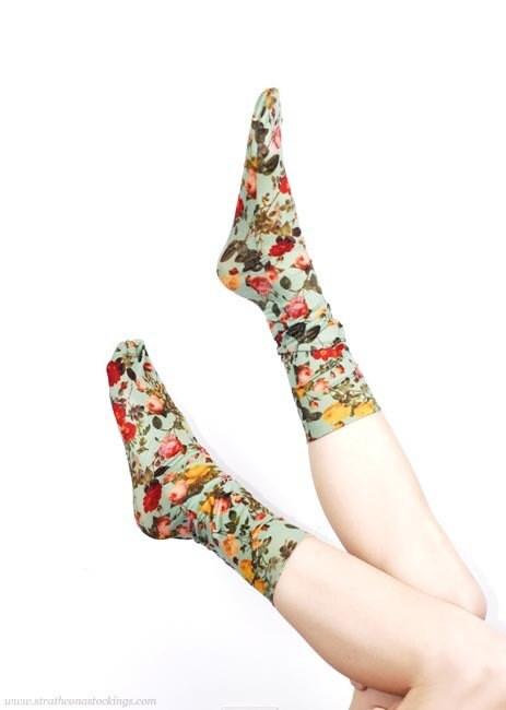 Floral Socks in Seafoam -- Hand Printed