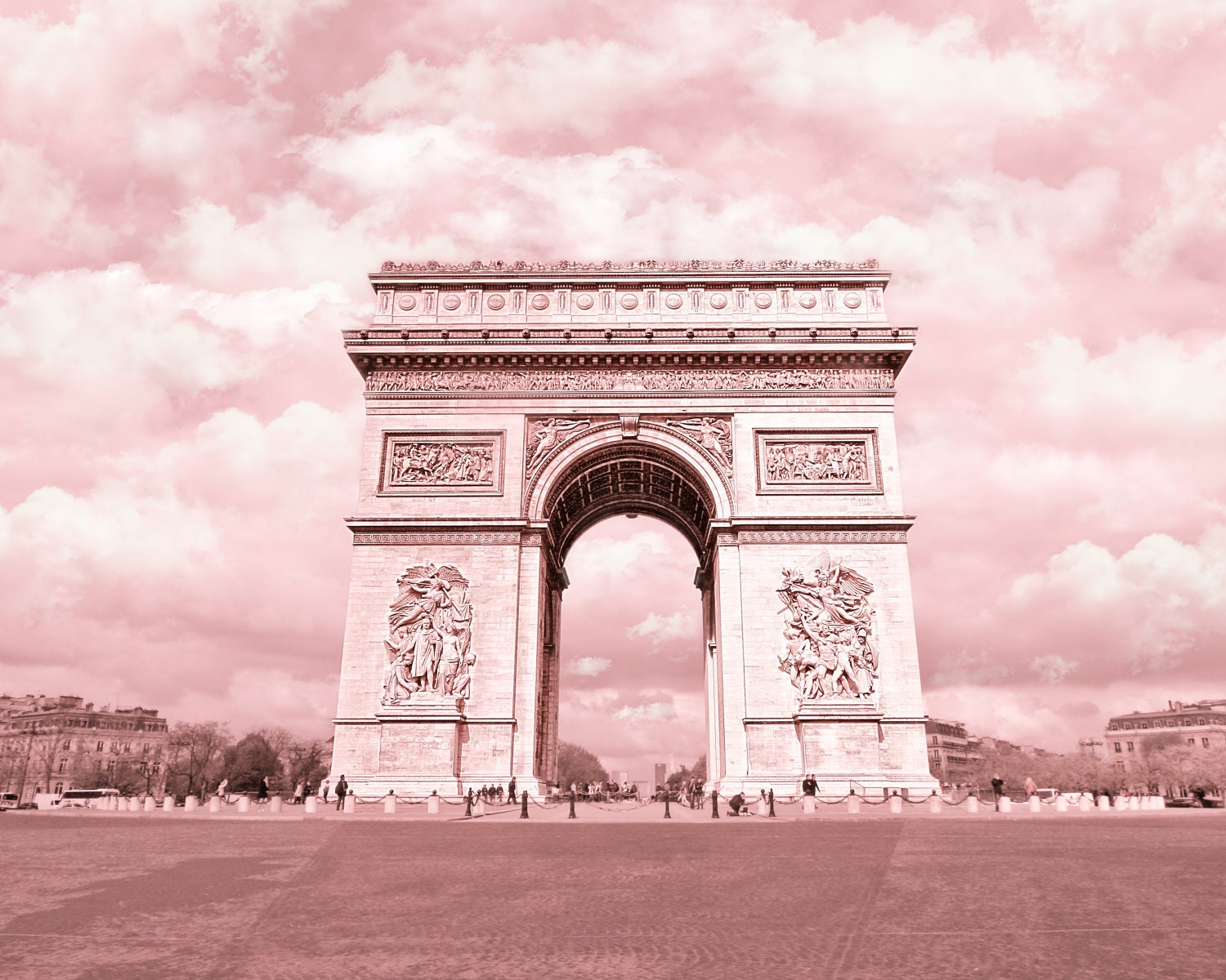 Arc de triomphe in pink paris france by ekaterinahashbarger for Arc de triomphe wall mural