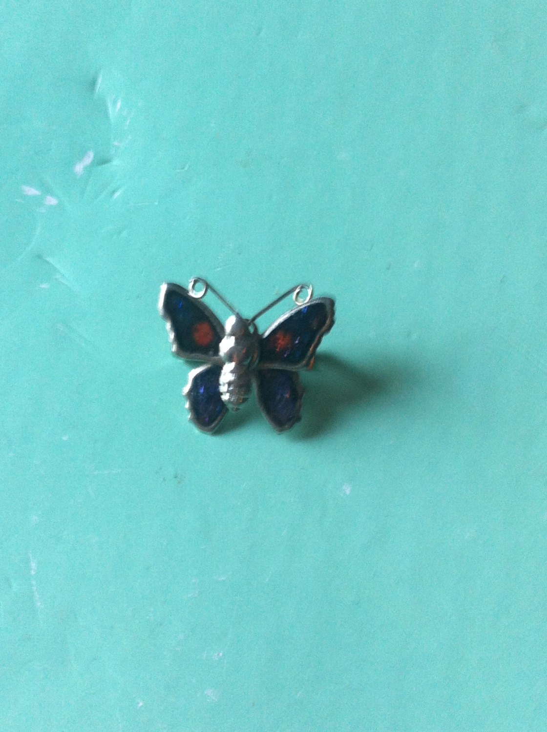 Beautifulb tiny 70s butterfly enamel antique vintage pin brooch retro jewellery jewelry