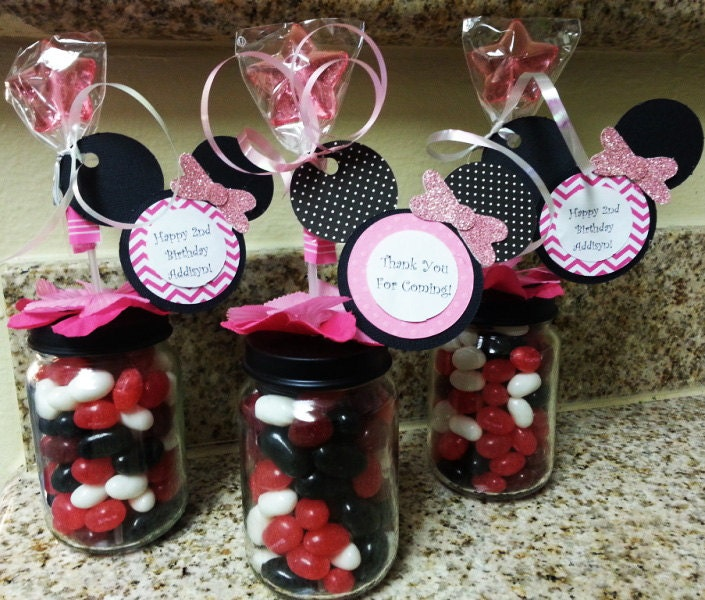 Minnie Mouse Baby Shower Party Favors: Minnie Mouse Baby Food Jar Party Favors By Stinkystuffs On
