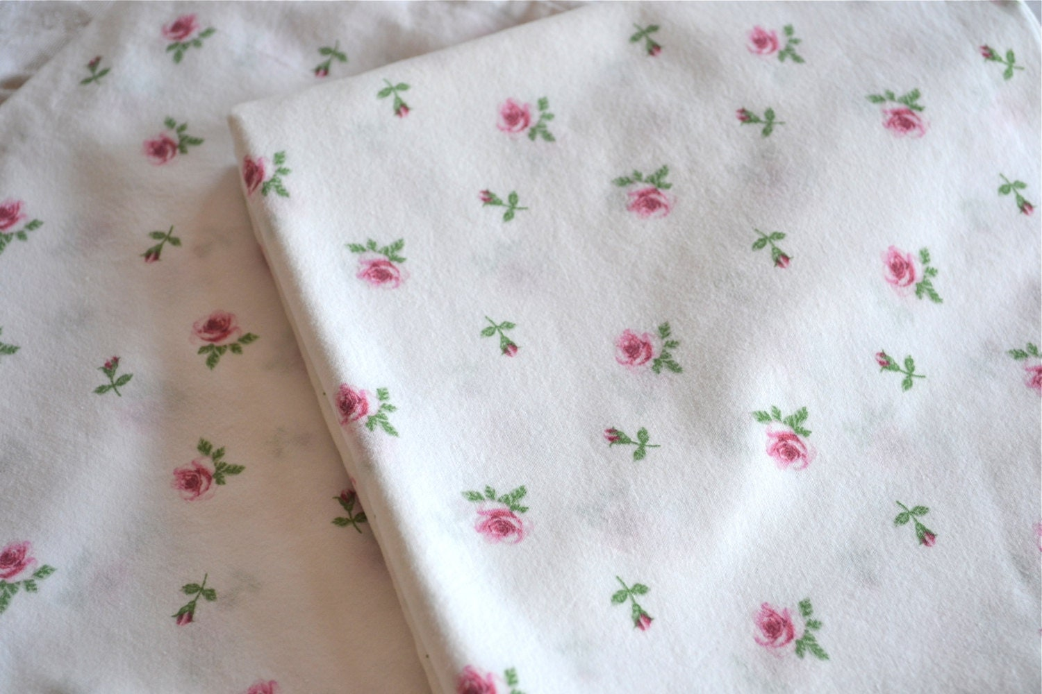 Pink Rosebud Pillowcases Queen Size Pair Emelina By