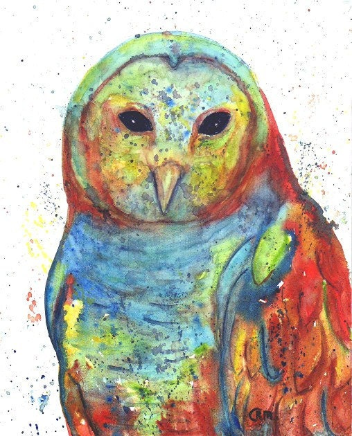 Abstract Owl Watercolor