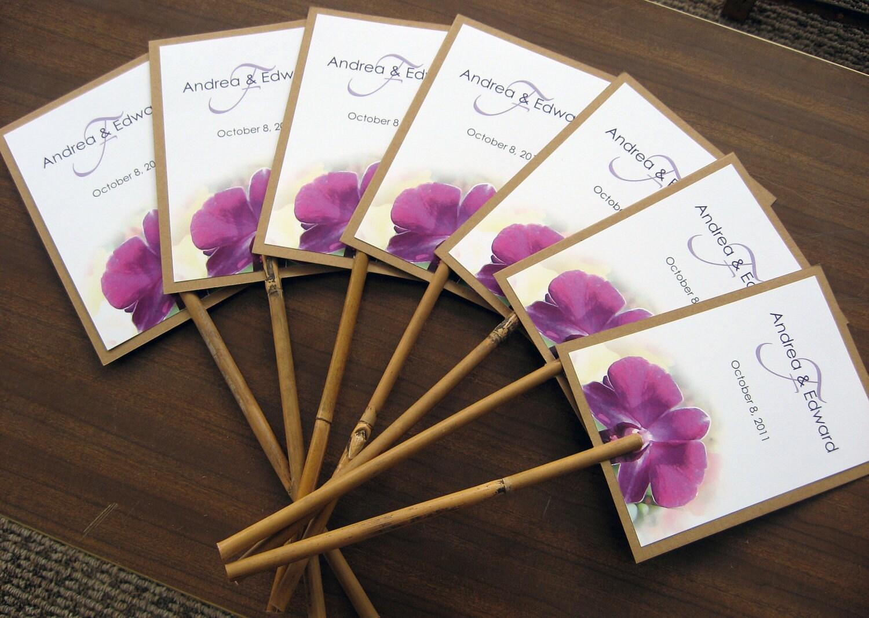 Hawaiian Tropical Orchid Beach Wedding Program Fan Natural Bamboo Stick