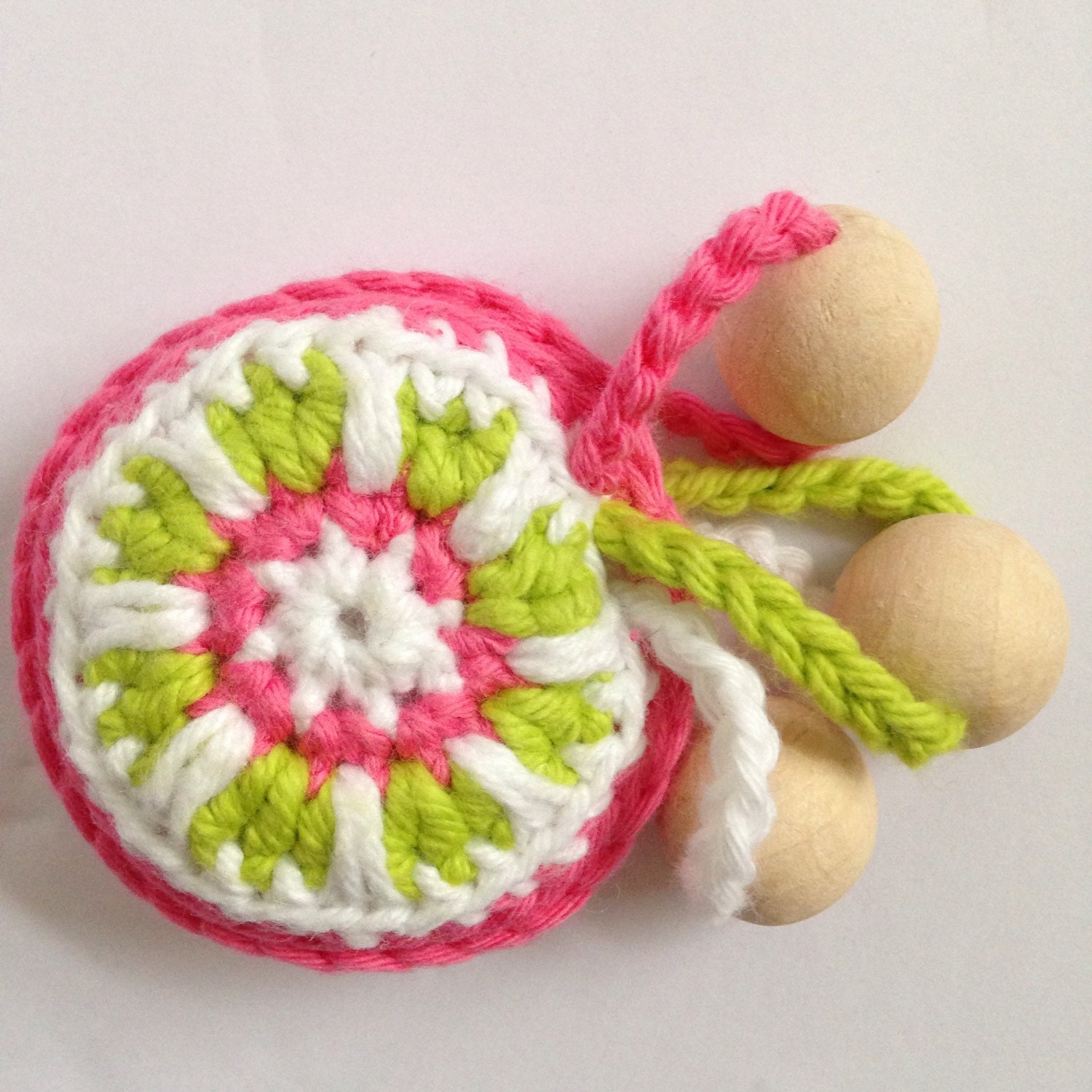 Pink and green baby rattle teething toy crochet rattle