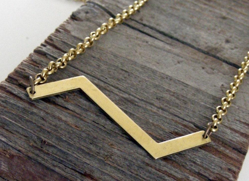 Chevron Necklace Chevron Geometric Vintage Brass Necklace - Under 25