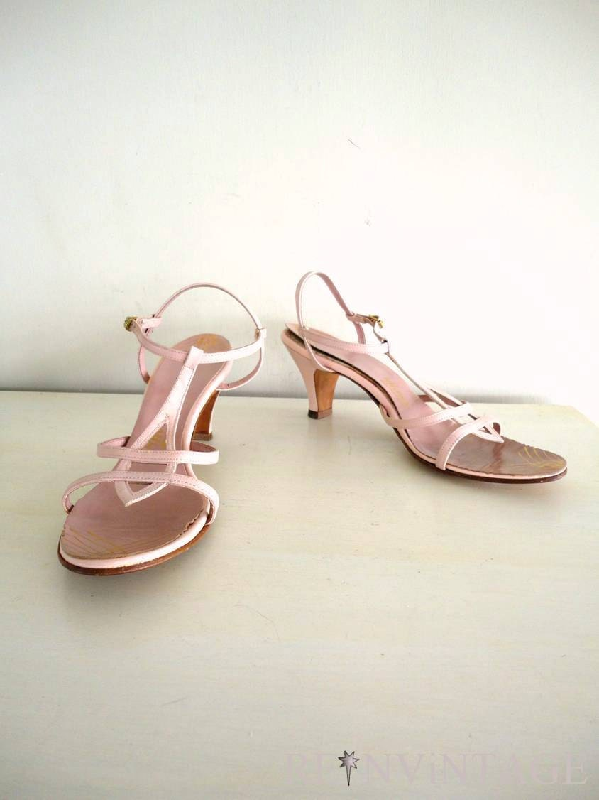 vintage 1960 70s shoes ballet blush pink by shopreinvintage