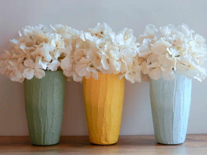 Trio of Vases / Instant collection / Pastel Home Decor / set of 3 / yellow, green, and blue vases