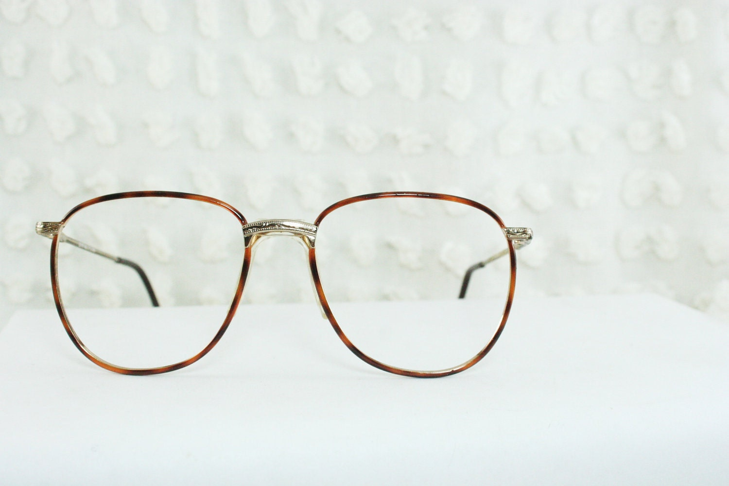 Big Wire Frame Glasses : 1990s Oversize Eyeglasses Tortoise Gold Wire Rim by ...