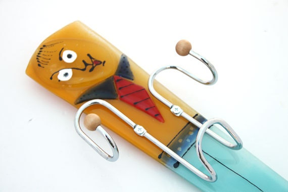 Fused Glass Hand Towel Holder Key Holder Mobail By