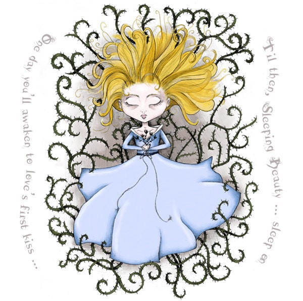 Sleeping Beauty Illustration - 9 1/2 x 9 1/2 Print