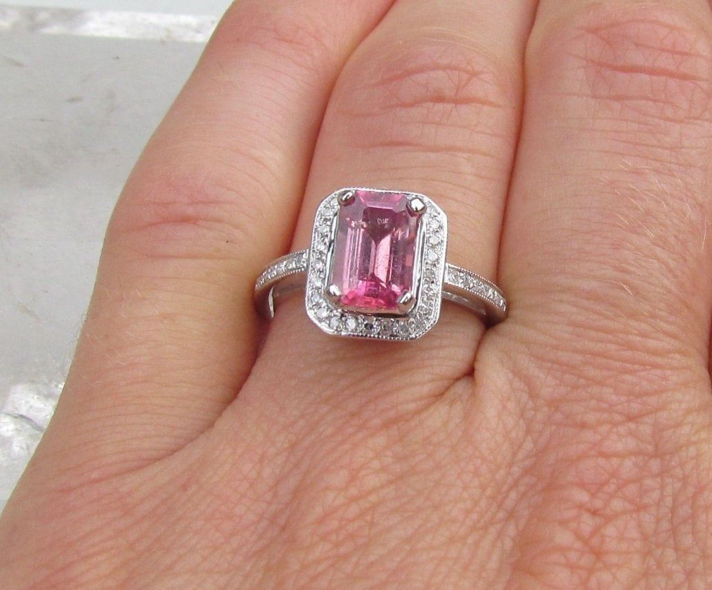 pink sapphire emerald cut engagement ring in 14k gold