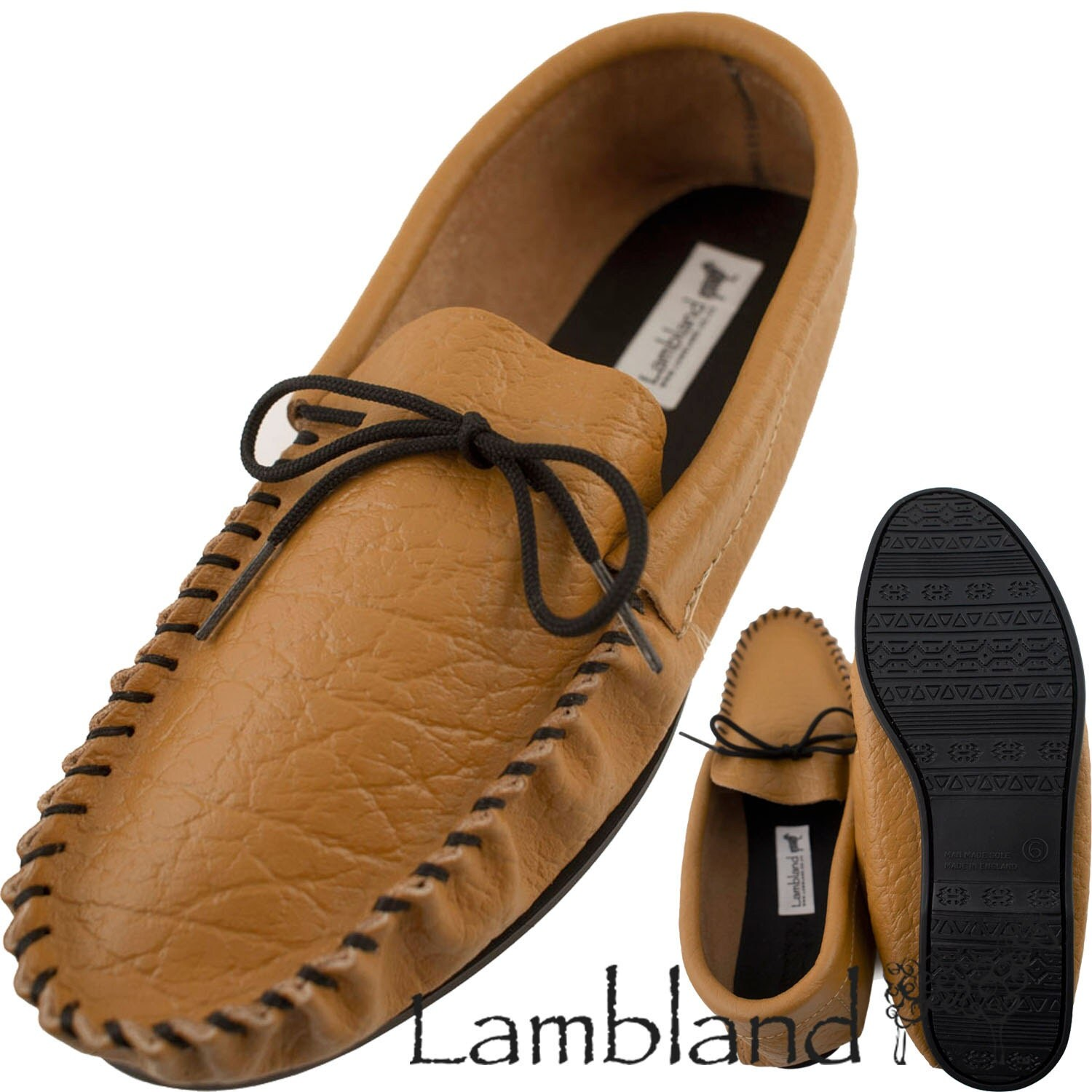 Mens  Gents Genuine Leather Moccasin Slippers with Leather Lining and PVC Sole in Mustard