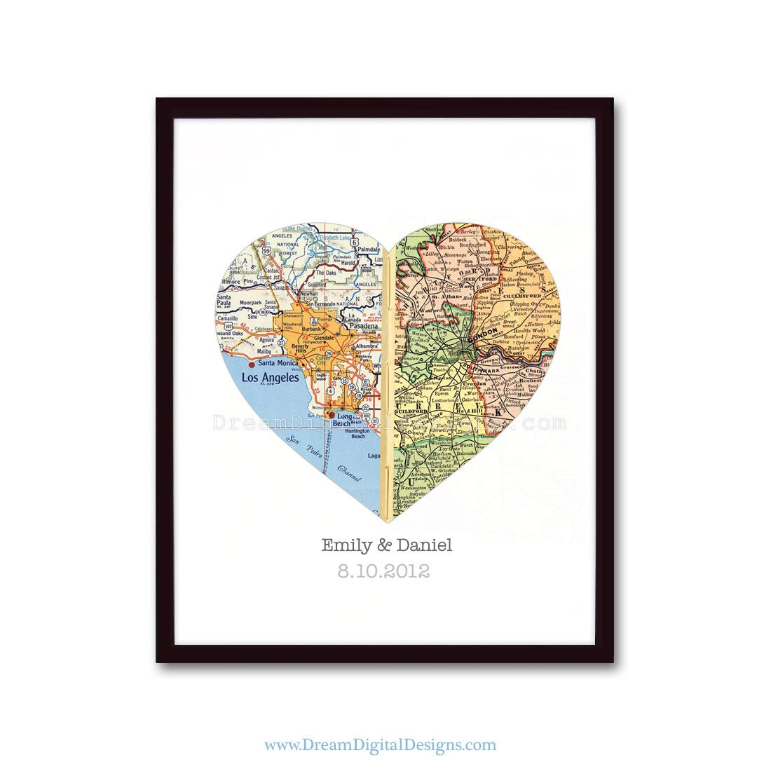 Personalized Art Map Wall Decor - Wedding Gift Engagement Gift Map Art Print One Heart with 2 Locations Valentine Gift faux stitched middle - DreamDigitalDownload