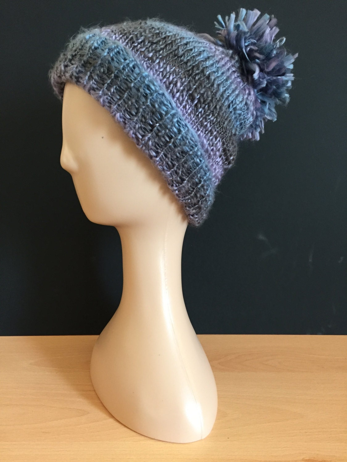 Hand Knitted bobble hat  lilacbluesilver (balsam)