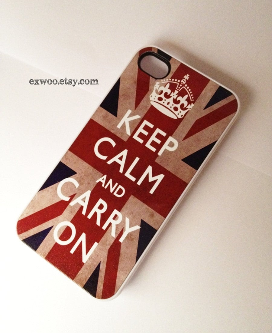 Keep Calm and Carry On  iPhone 4 Case, iPhone case, iPhone 4s Case, iPhone 4 Cover, Hard iPhone 4s Case