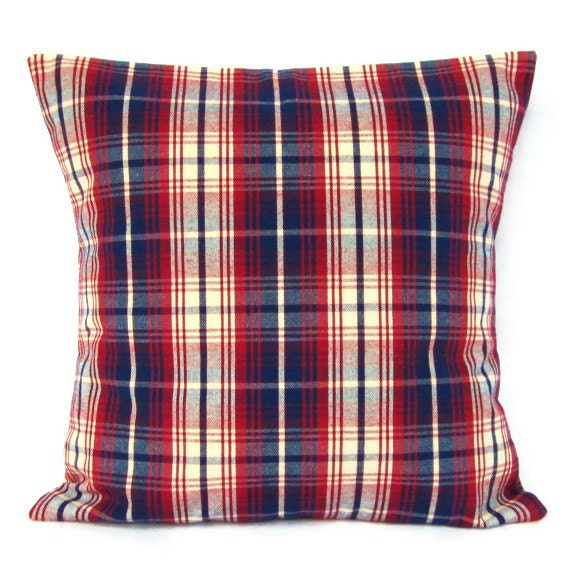 Red Plaid Throw Pillow Cover : 18x18 Red White Blue Plaid Pillow Cover Home by GigglesOfDelight