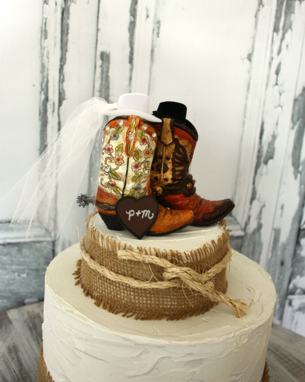 His and hers western boots-wedding cake by MorganTheCreator