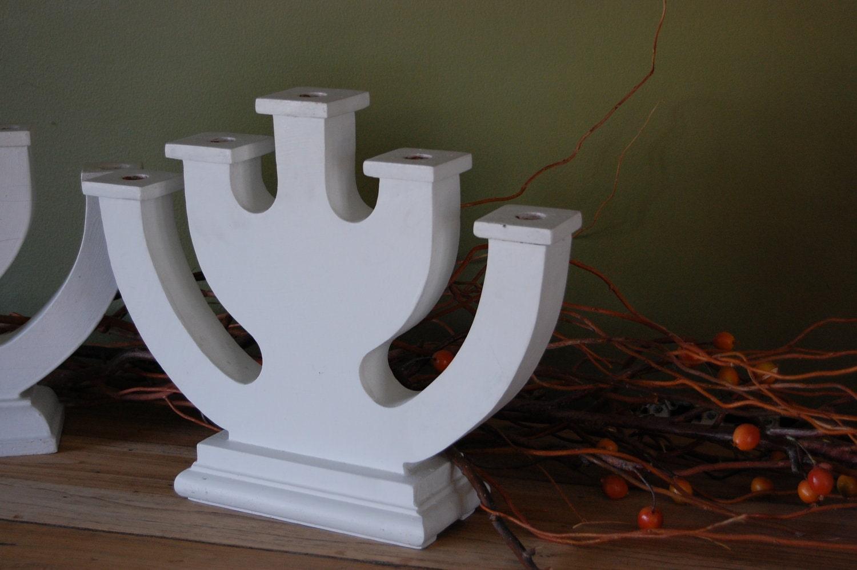 Vintage Handmade Wooden Jewish fOlK aRt Menorah or Hanukah Holiday Candle Holder - sugarSCOUT