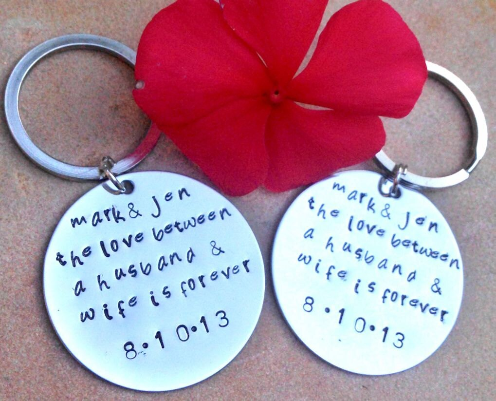 Etsy Wedding Gift For Husband : The love between a husband and wife, wedding day key chains, custom ...