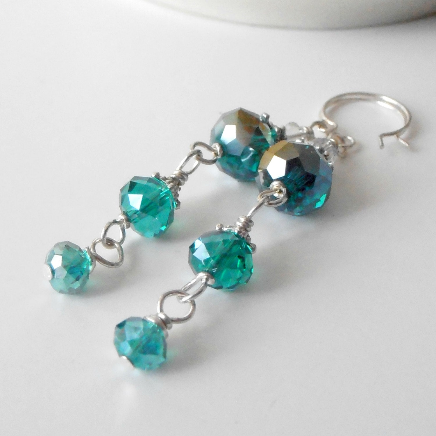 ON SALE Beaded Jewelry Teal Crystal Earrings Long Dangles Faceted Bead Drops in Silver Handmade Jewe