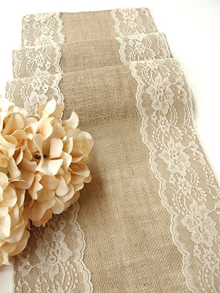 table wedding  table lace wedding wedding cream with  country  etsy runners runner runner rustic