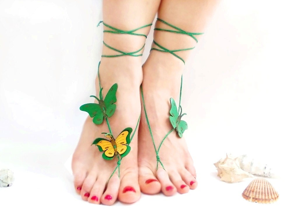 Barefoot sandal, Emerald, Green, Butterfly Anklet, Genuine leather butterfly, chamois leather, Anklet, Green barefoot sandal, Natural ankle - CatsAndSheeps