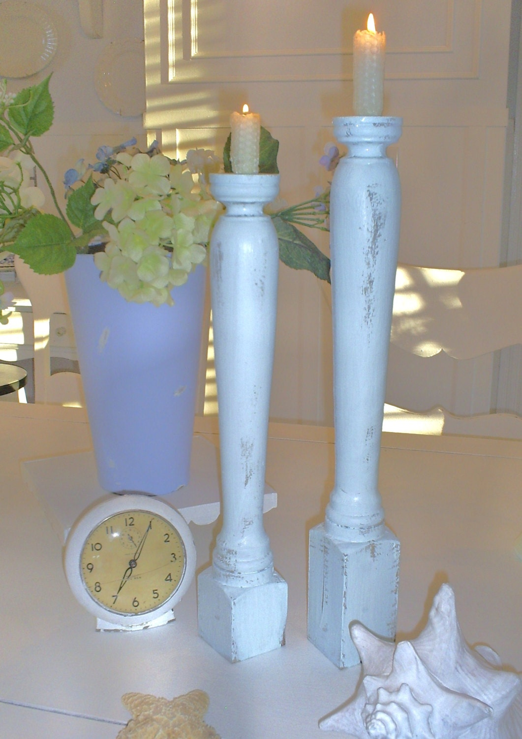 candlesticks candle holders shabby chic by backporchco on Etsy