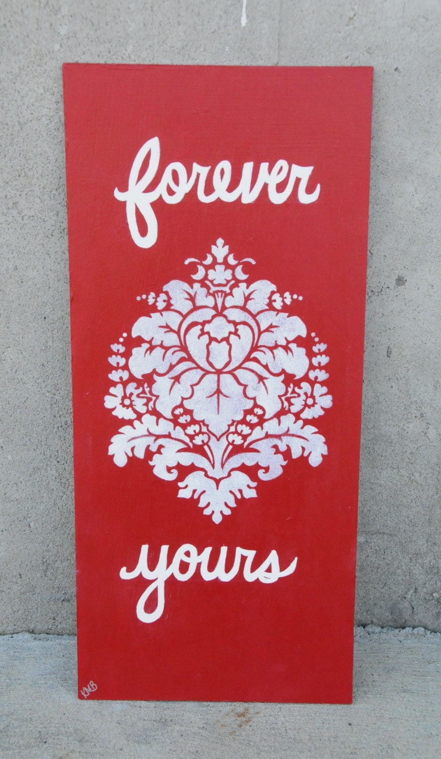 Wedding Sign Red Reception Decoration Love Quote Art Damask Wedding Painting Wood Panel Forever Yours - SilverBirdBoutique