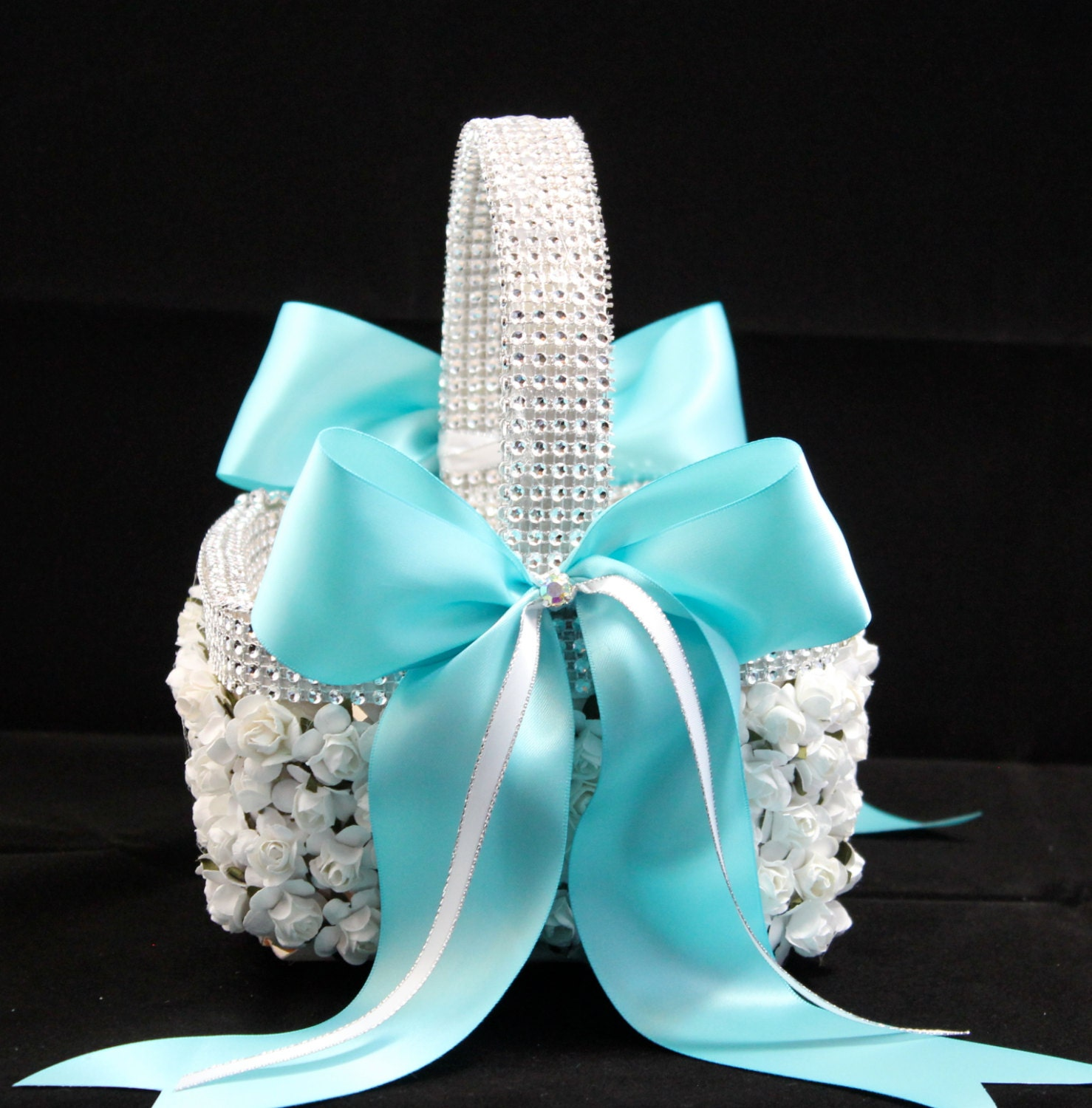 Tiffany Flower Girl Basket / Tiffany Wedding Decorations / Couture Flower Girl / Teal  blue basket