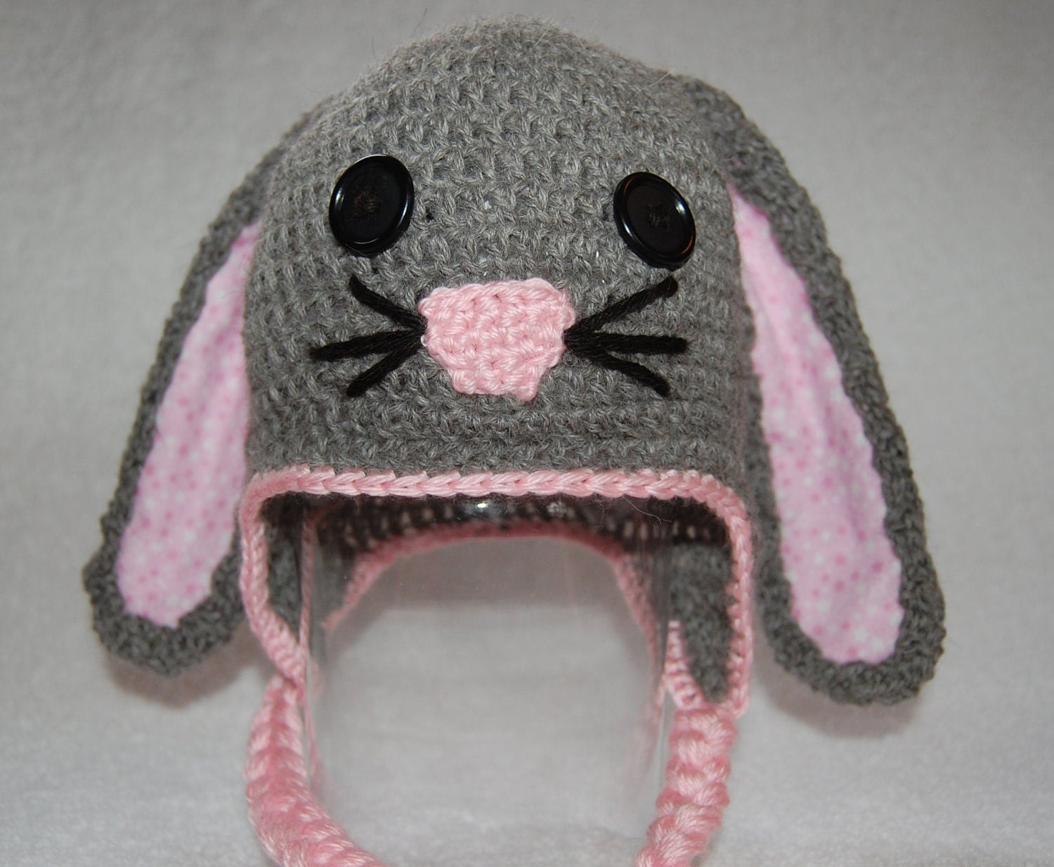 Bunny Rabbit Hat for Baby Girl in Gray Alpaca with Pink Trim size Newborn to 3 Months - alpacakids