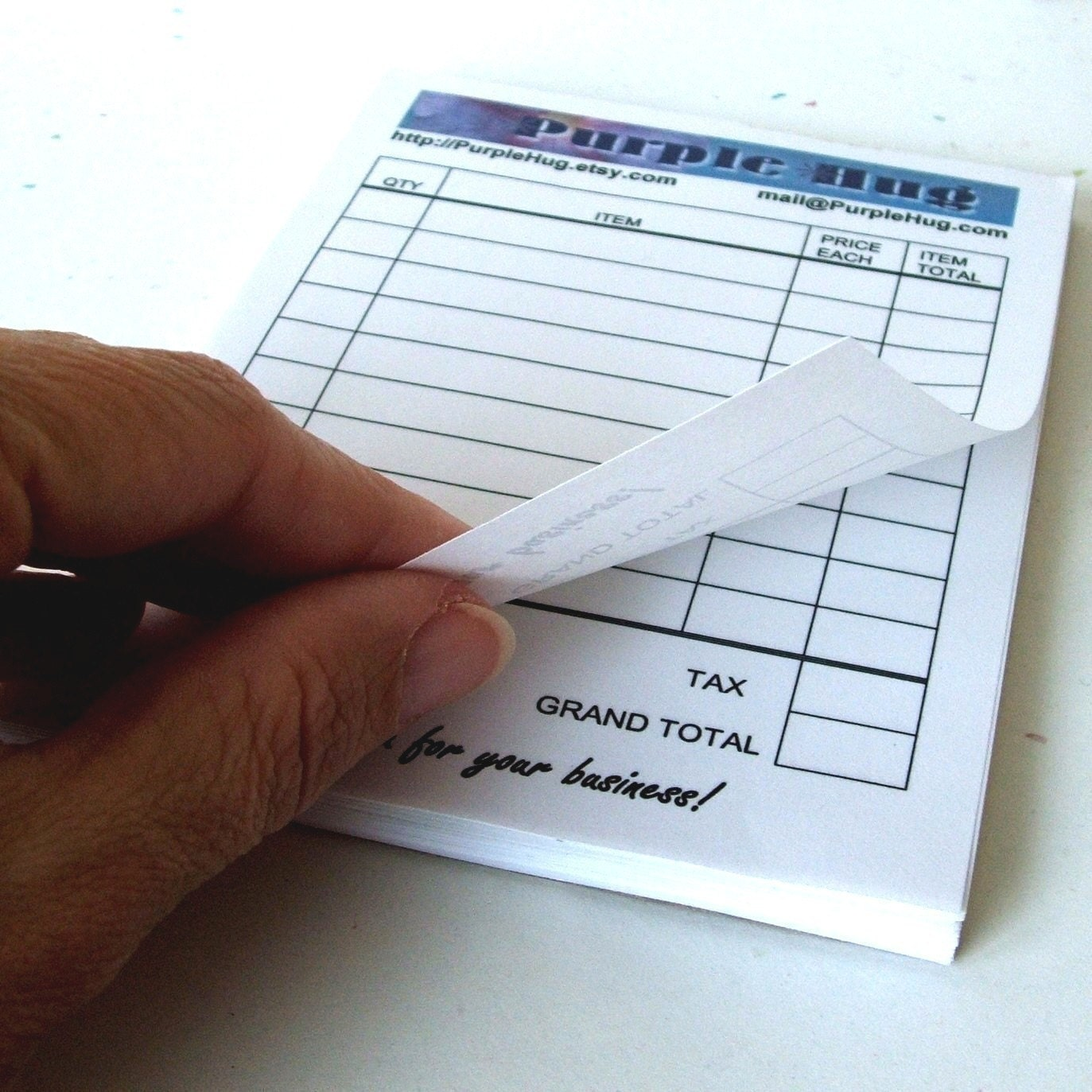 Receipt sales book or invoice pad qty of 1 custom by purplehug for Invoice pads personalized