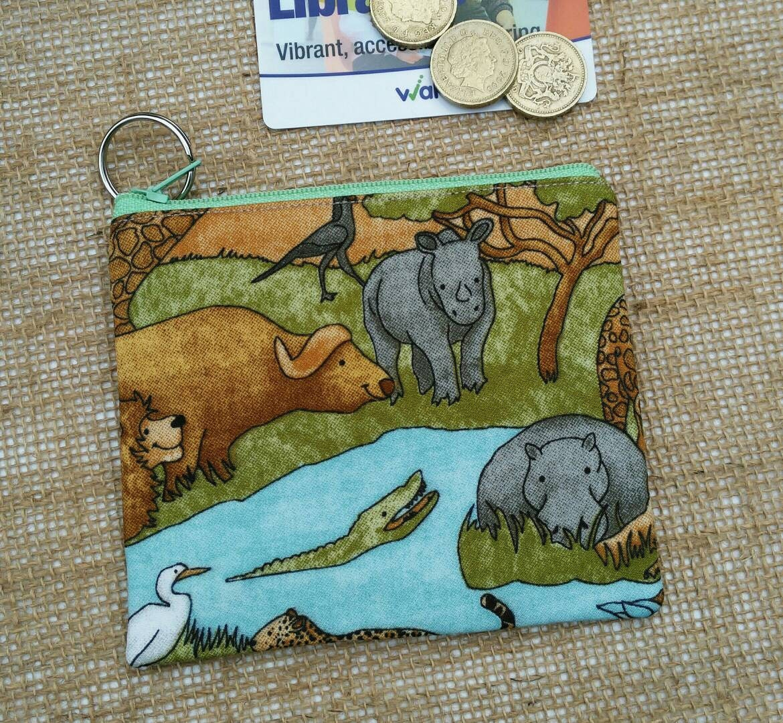 Crocodile rhino hippo zebra wild animal safari Coin Purse Credit Card pouch Key Ring Fully Lined Birthday Gift Ships from UK