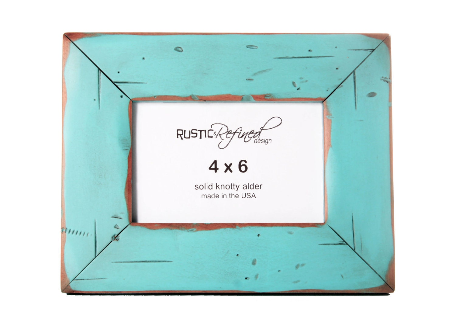 "4x6 picture frame with 2"" border width - Turquoise - RusticRefined"