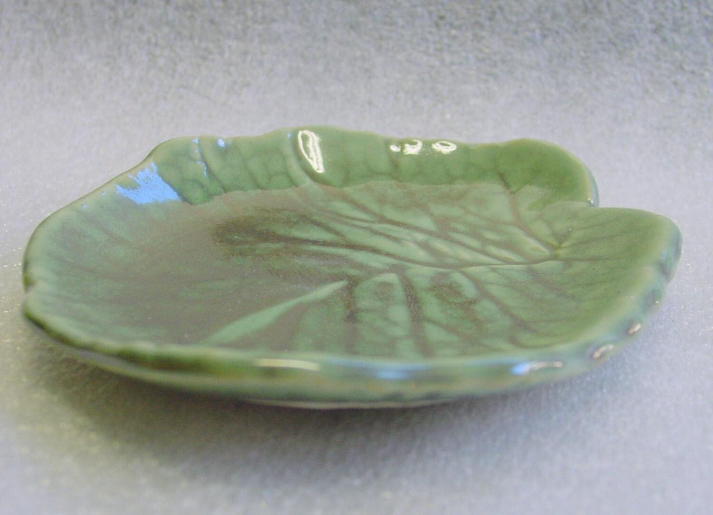 Green Handmade Pottery Leaf Trinket Tray, Spoon Rest, Candle or Tea Bag Holder