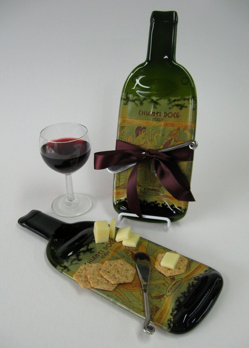 Melted wine bottle cheese plate candoni by mitchellglassworks - How do you melt glass bottles ...